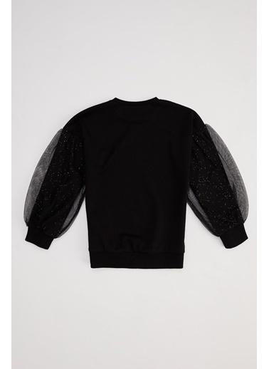 DeFacto Kız Çocuk Baskılı Kolları Tül Detaylı Sweatshirt Siyah